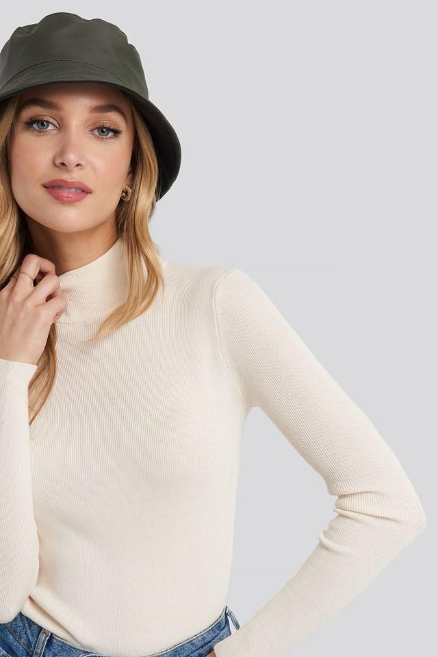 Warm Lined Nylon Bucket Hat Khaki Green