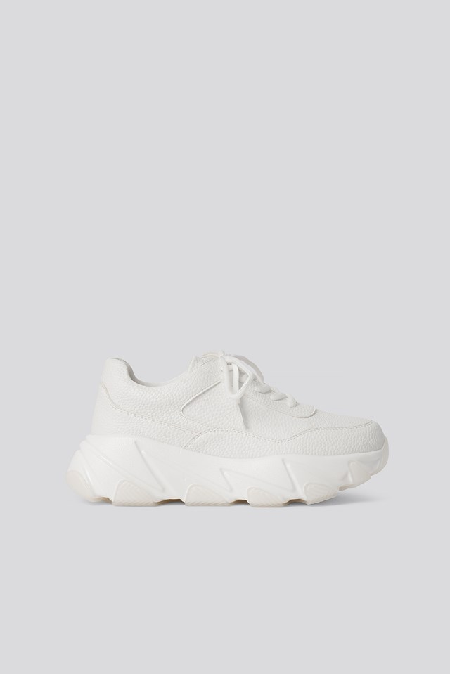 Wave Sole Chunky Trainers White