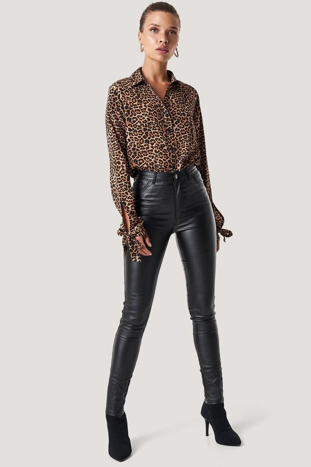 Black Waxed High Waist Trousers