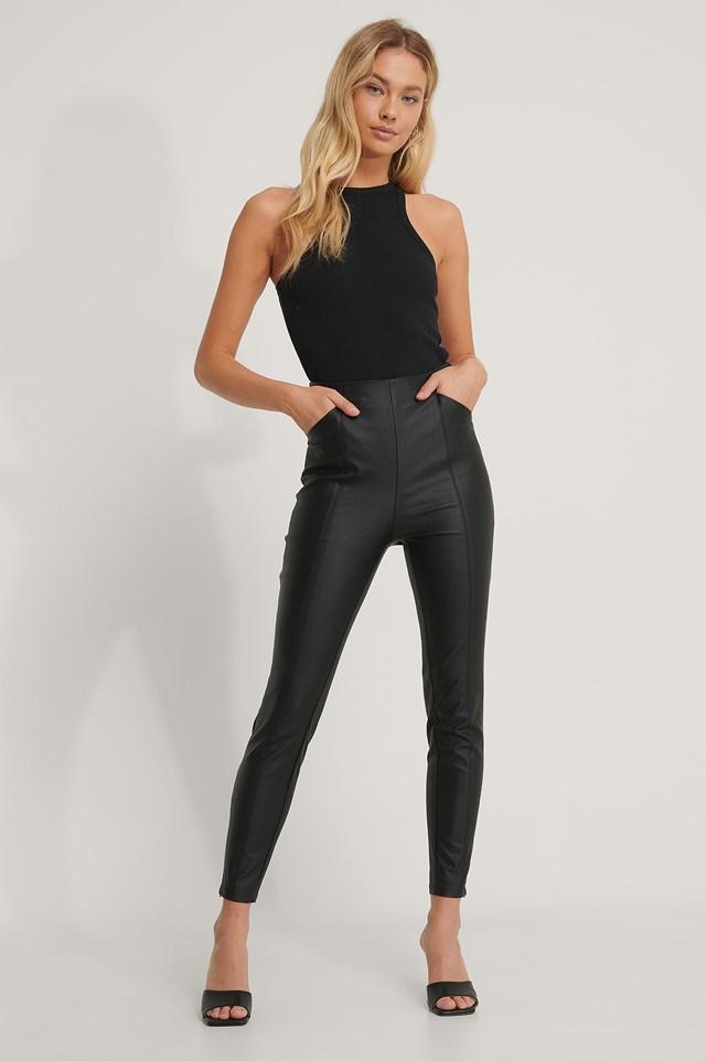 Black Waxed Slim Leggings