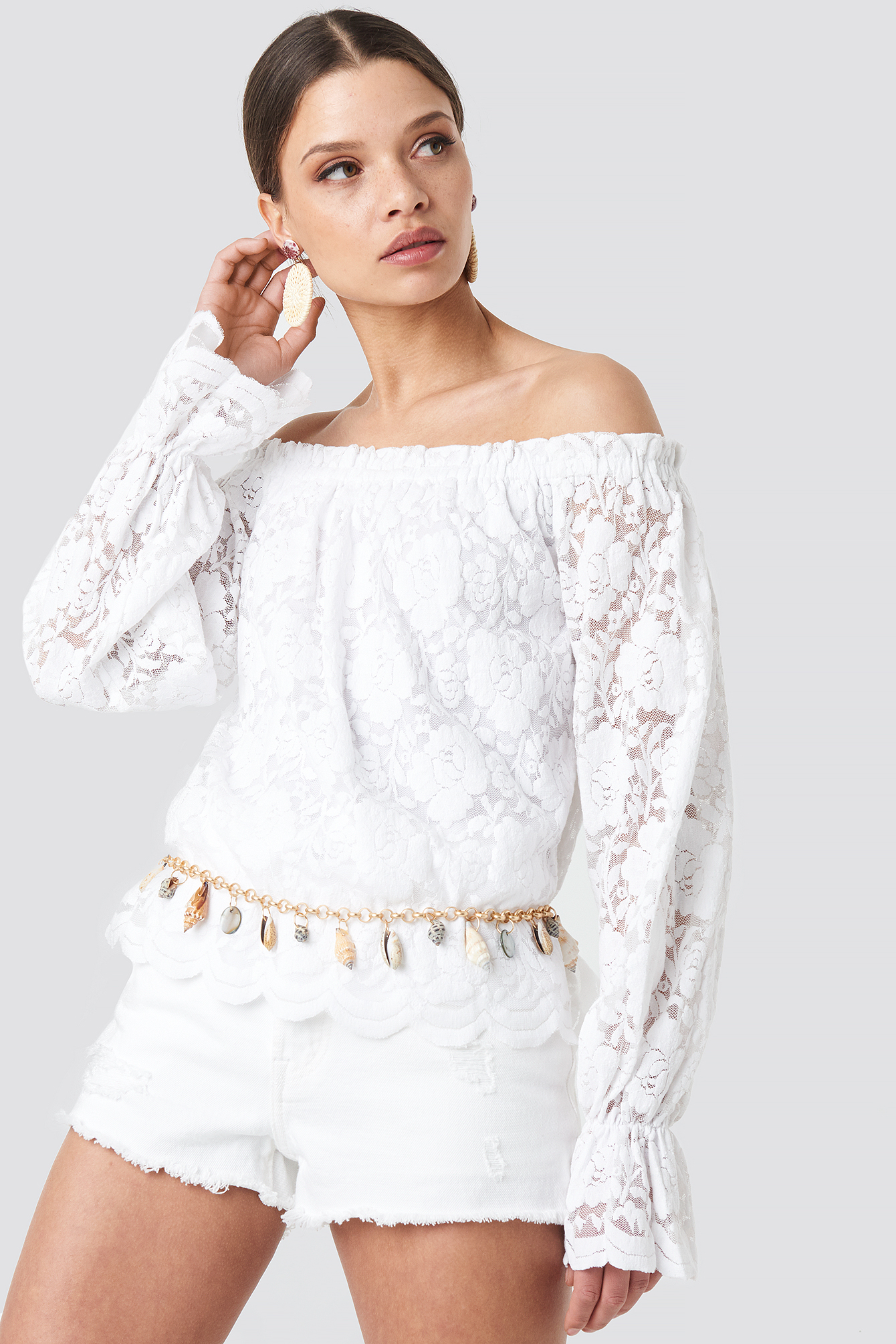 White Wide Cuff Off Shoulder Lace Top