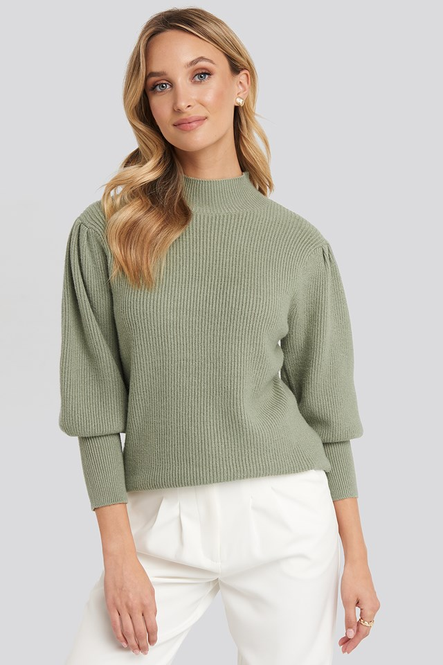 Wide Cuff Balloon Sleeve Knitted Sweater Light Khaki