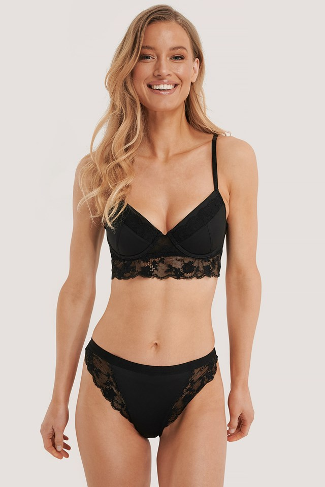 Wide Lace Edge Hipster Black