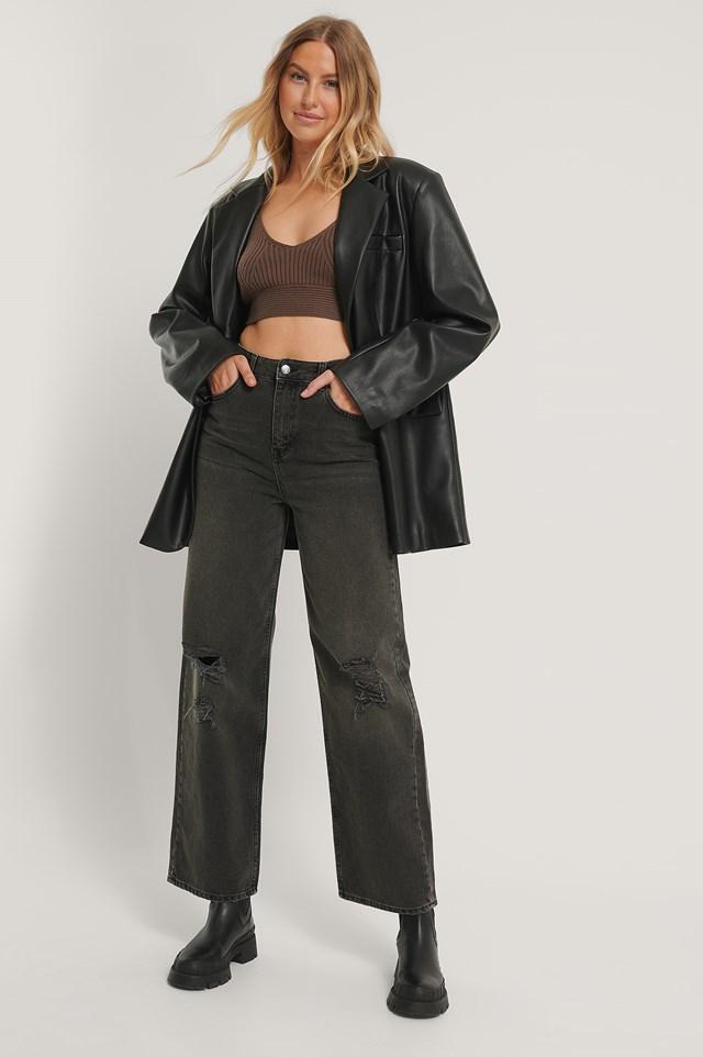Organic Wide Leg Destroyed Details Jeans Black