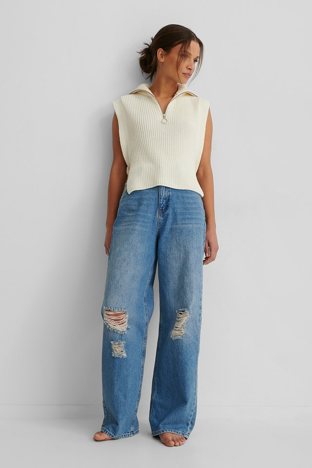 Mid Blue Organic Wide Leg Destroyed Details Jeans