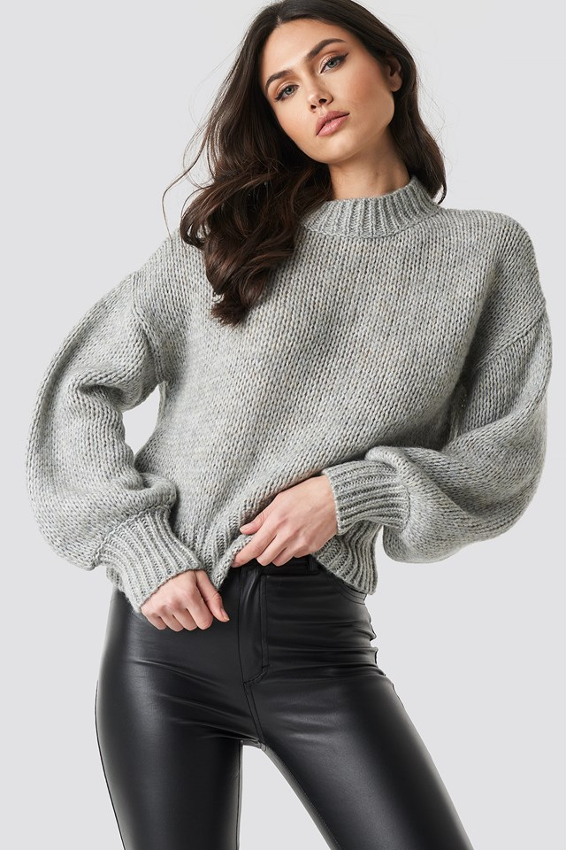 Wide Rib Short Knitted Sweater Grey