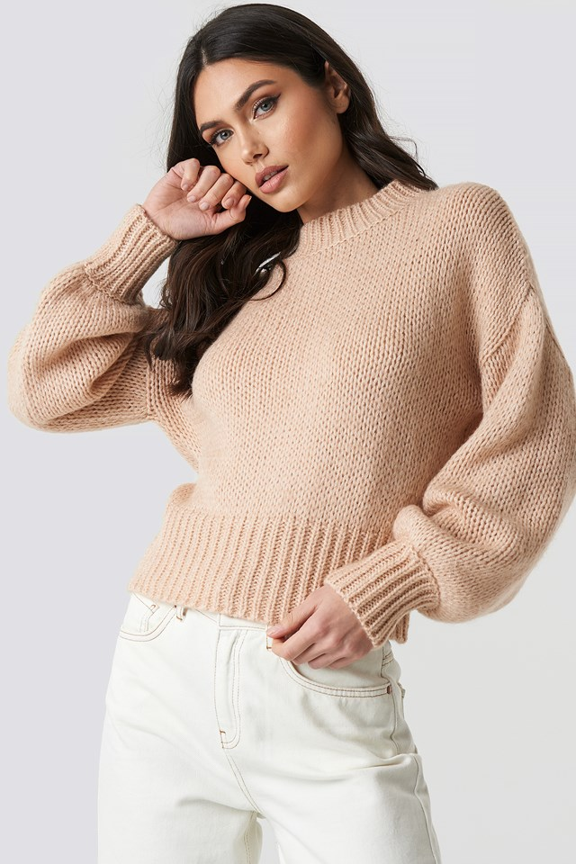 Wide Rib Short Knitted Sweater Light Pink