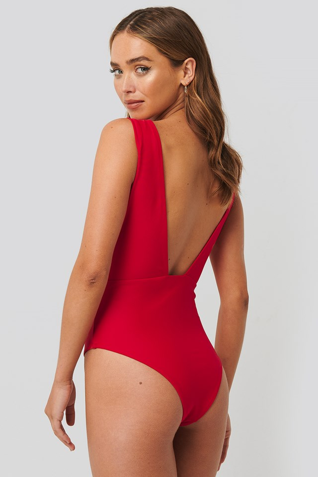 Red Wide Shoulder Strap Swimsuit