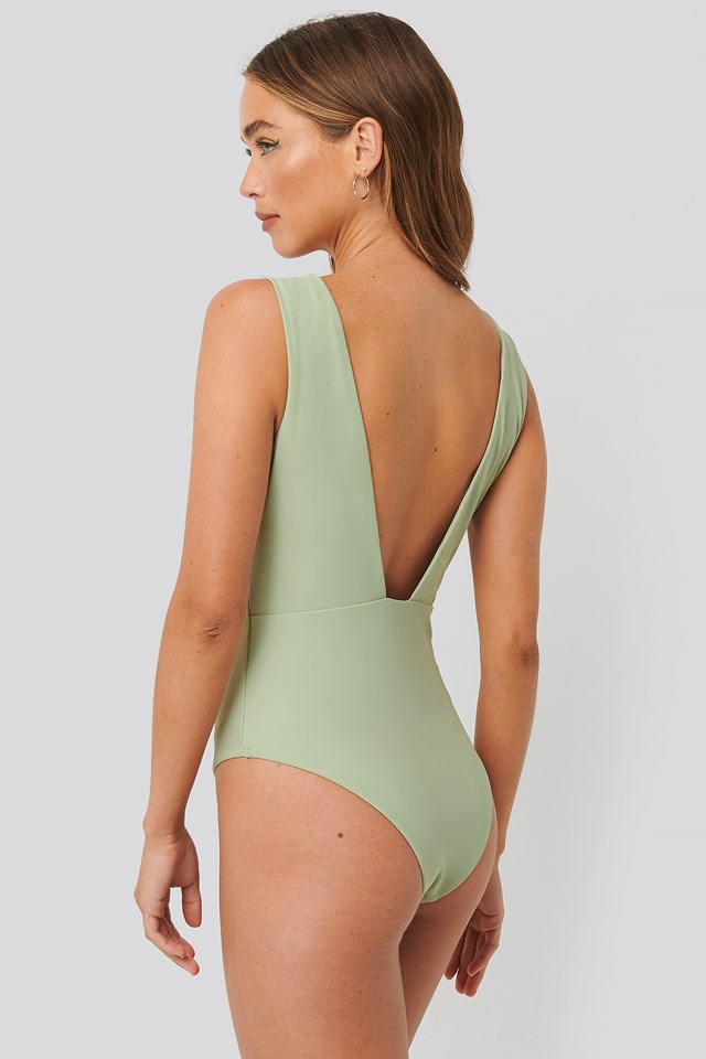 Dusty Green Wide Shoulder Strap Swimsuit