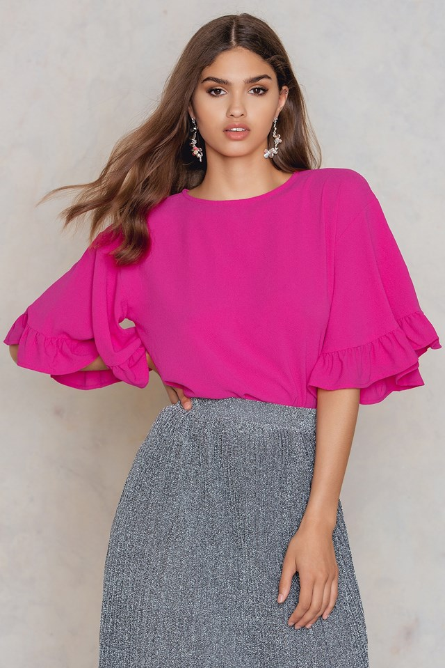 Wide Sleeve Frill Top Pink