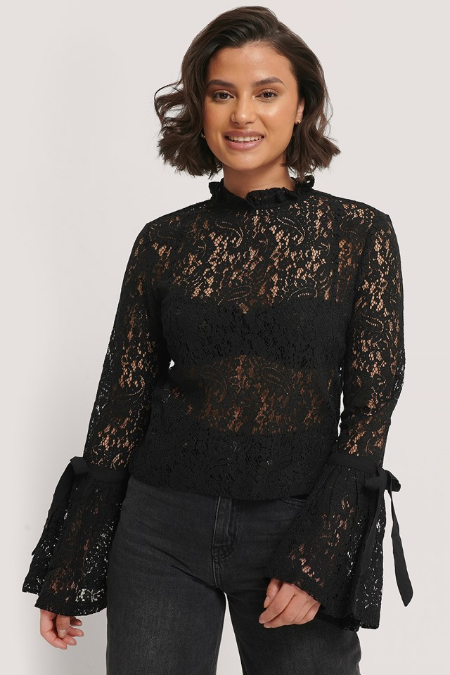 Wide Sleeve Lace Top Black