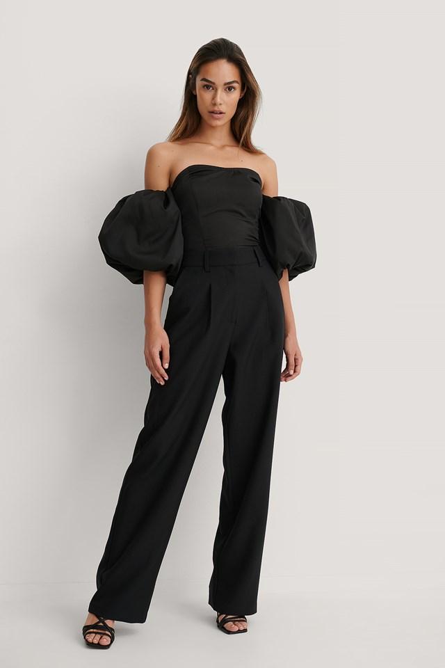 Black Wide Suit Pants