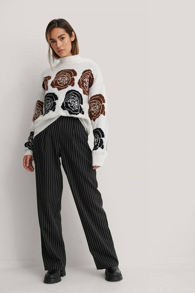Pinstripe Wide Suit Pants