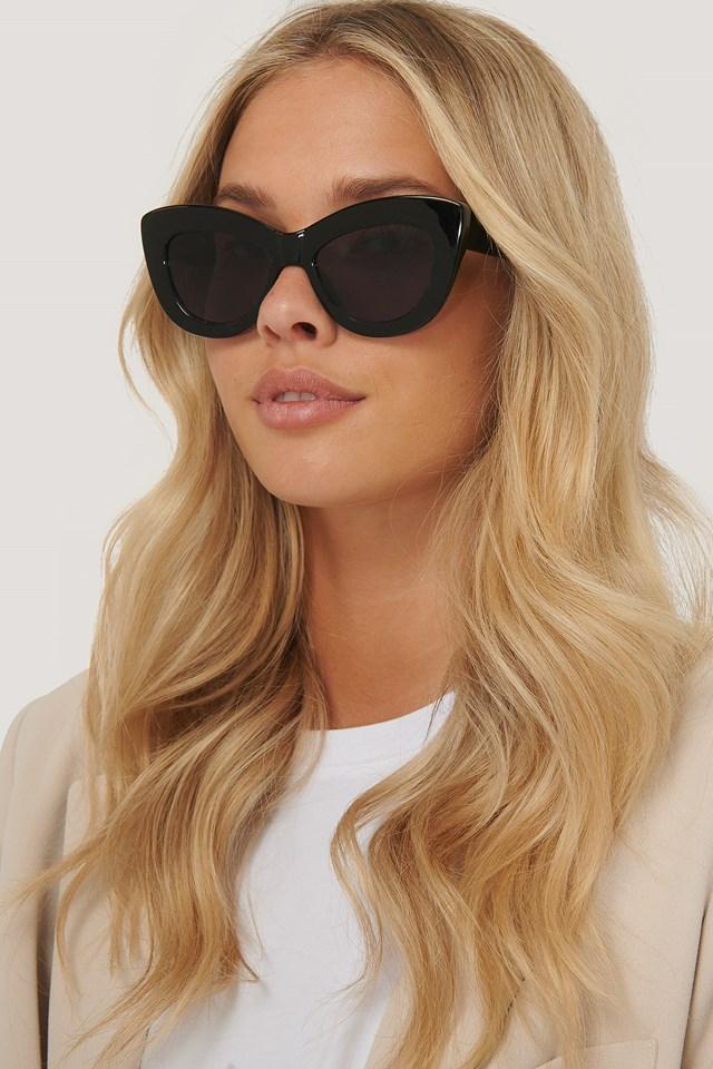 Masywne Okrągłe Okulary W Kształcie Kocich Oczu Black