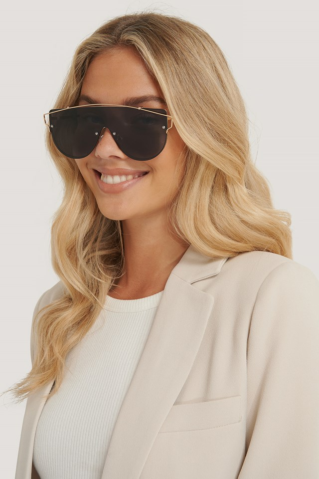 Black Wire Detailed Screen Sunglasses
