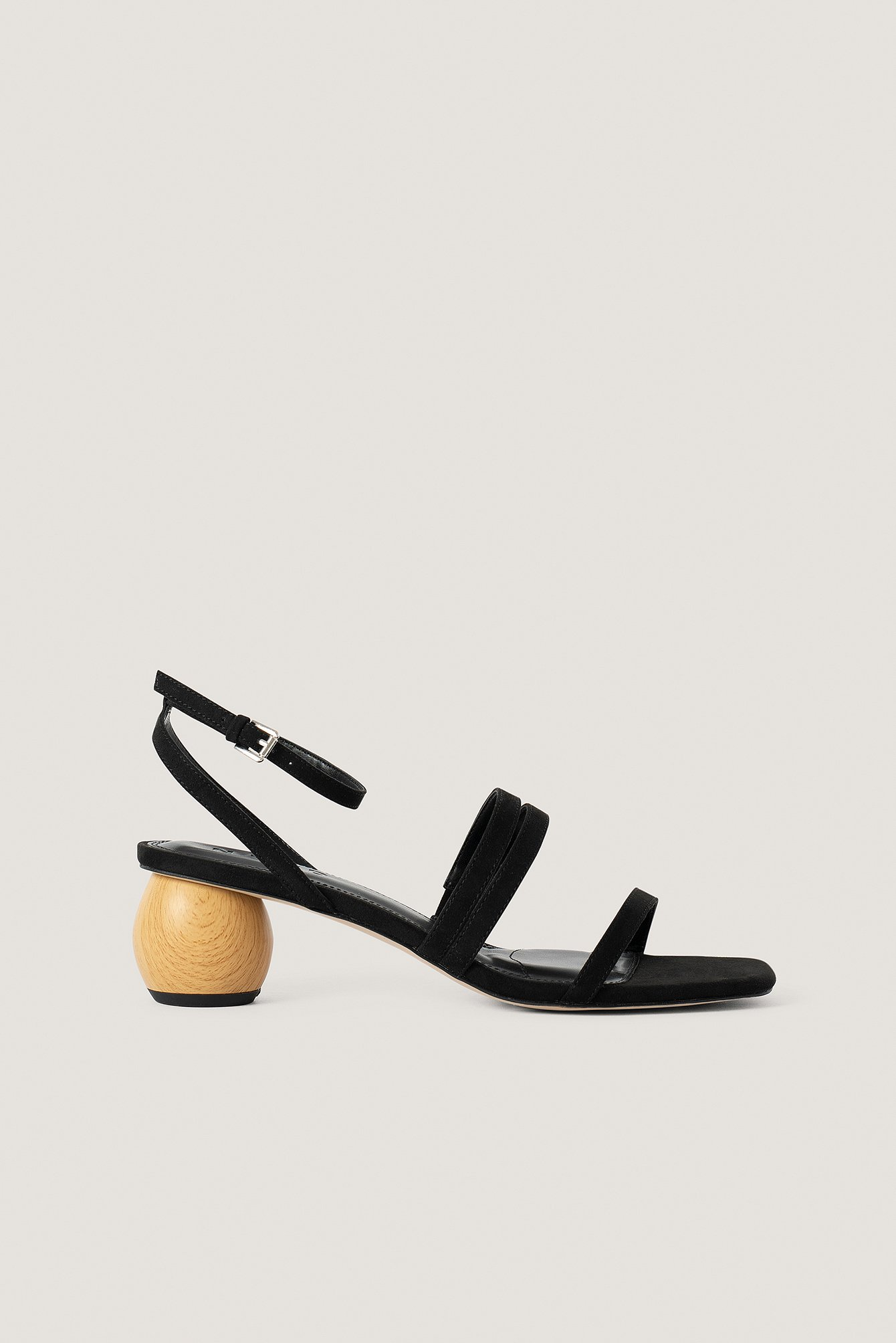 Black Wooden Heel Sandals