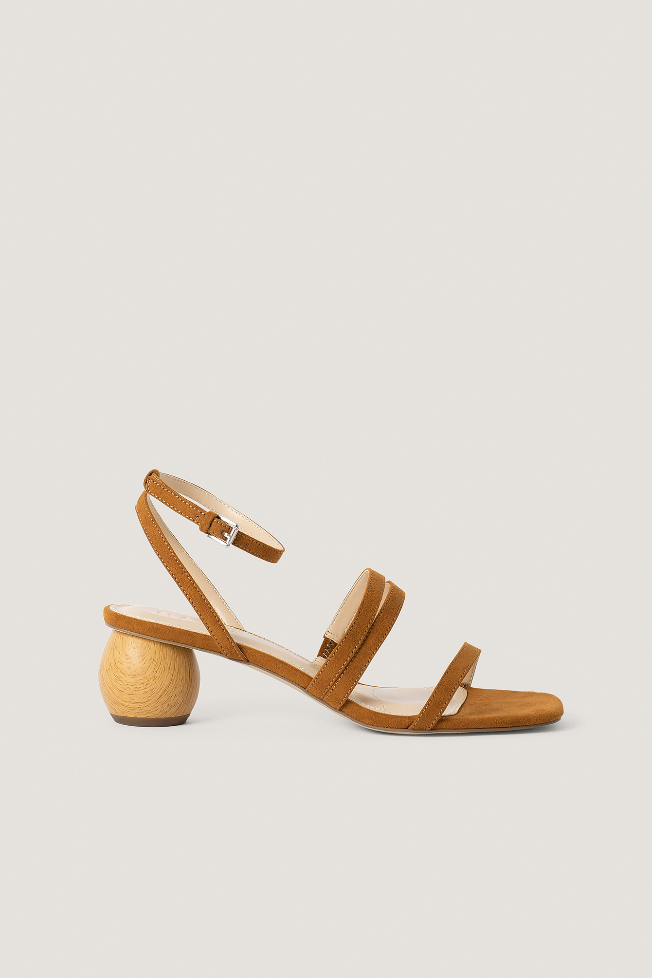 Brown Wooden Heel Sandals