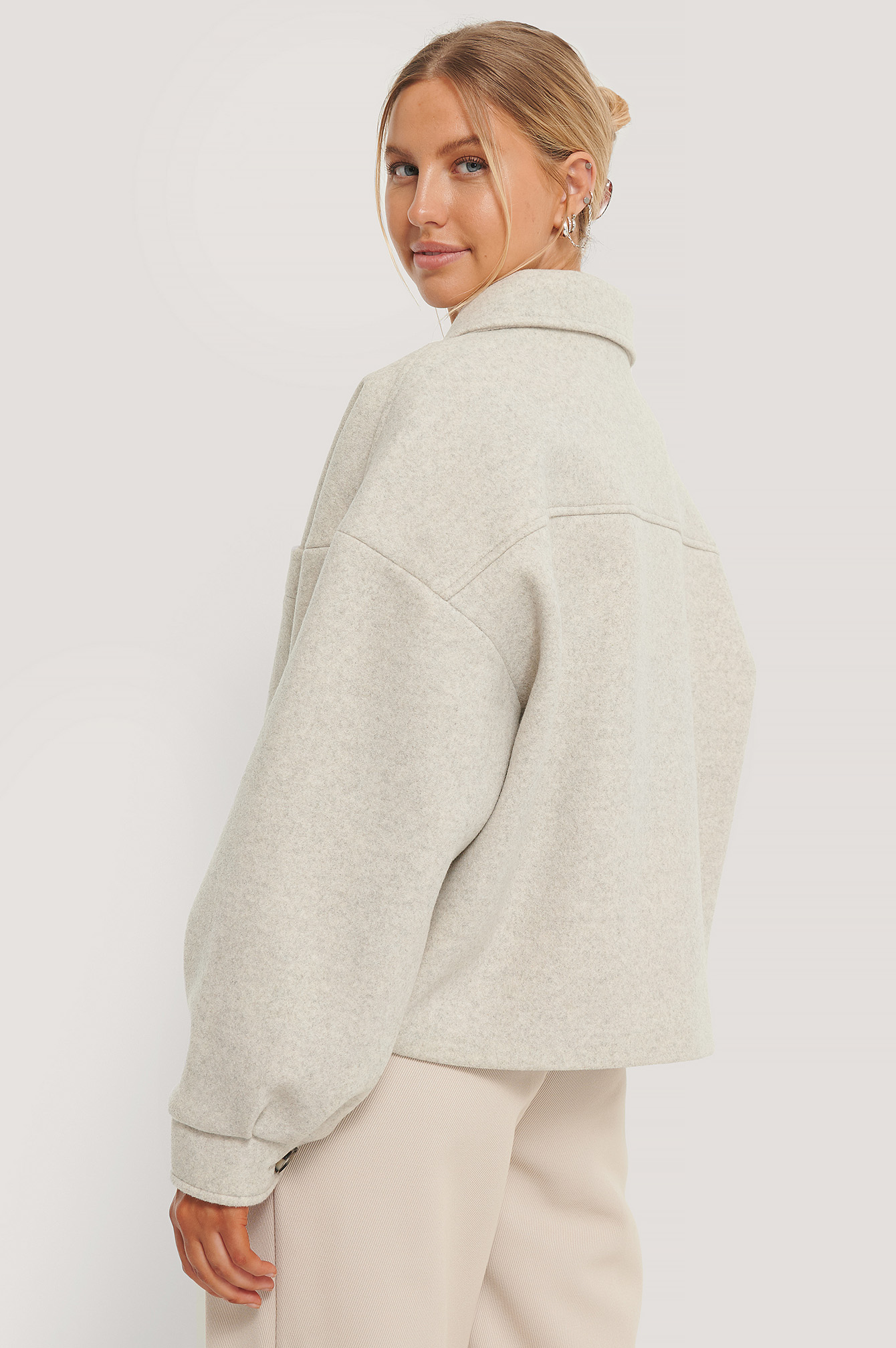 Grey Wool Blend Oversized Short Jacket