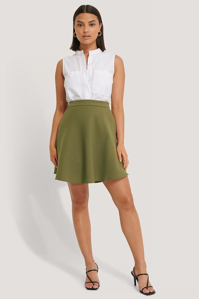 Woven Mini Skirt Army