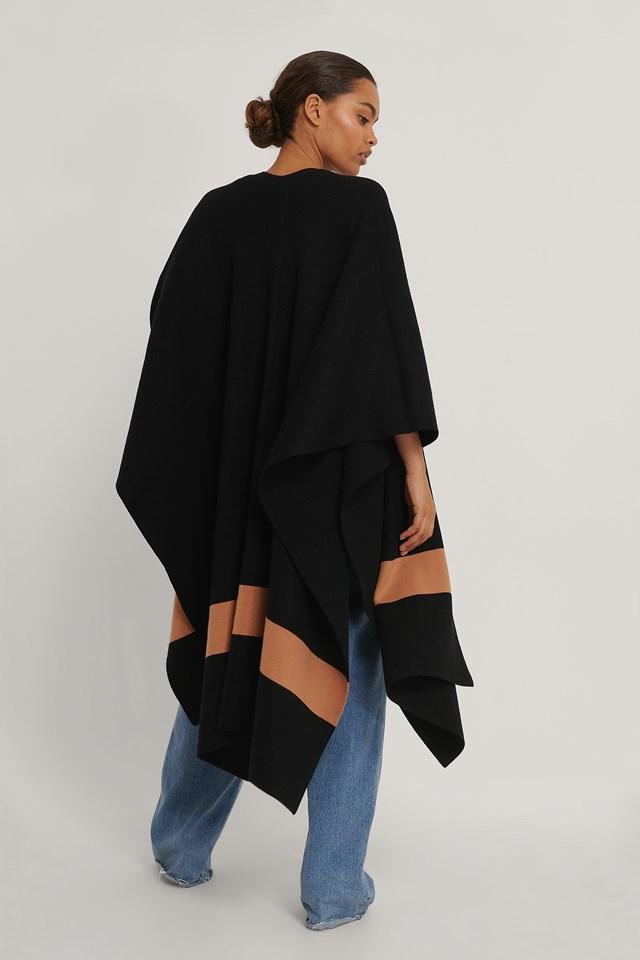 Woven Stripe Poncho Black