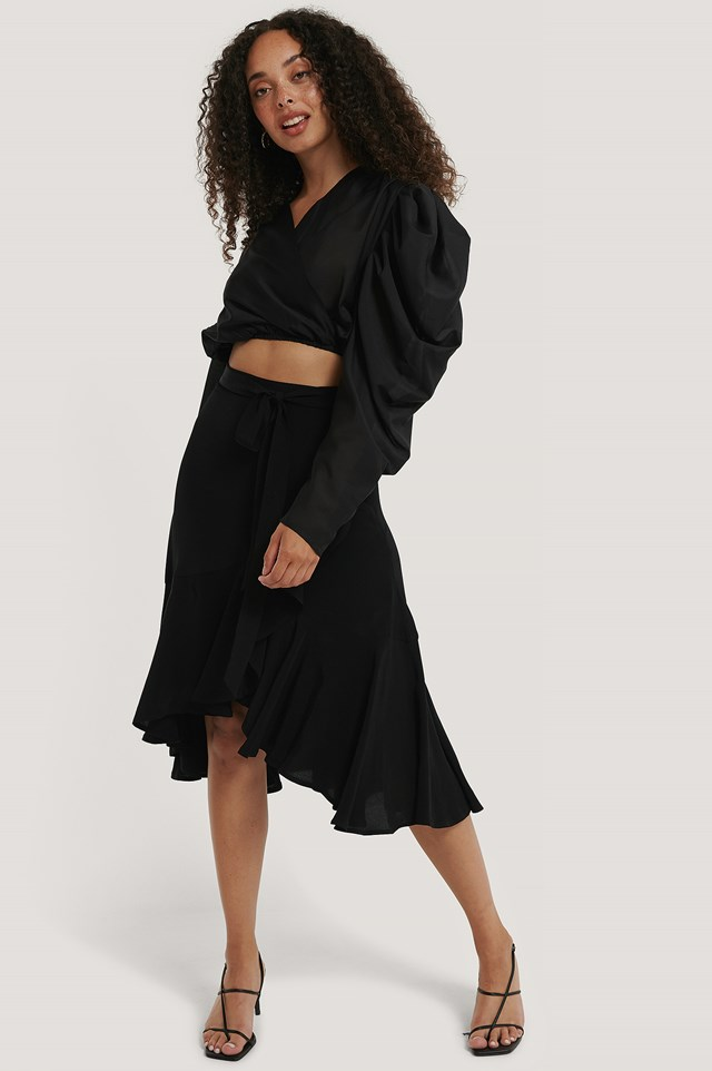 Wrap Flounce skirt Black