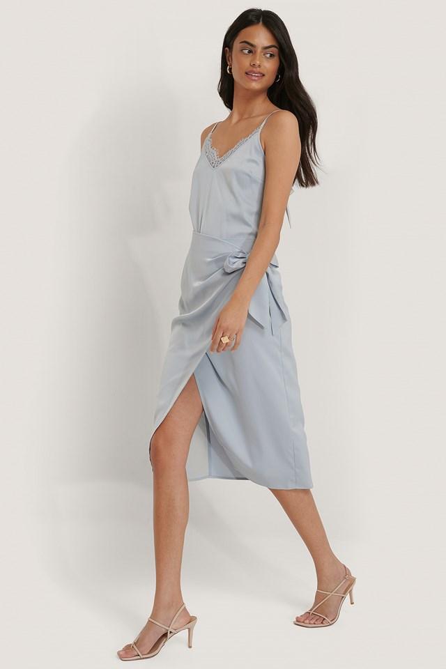 Wrap Tie Skirt Light Blue