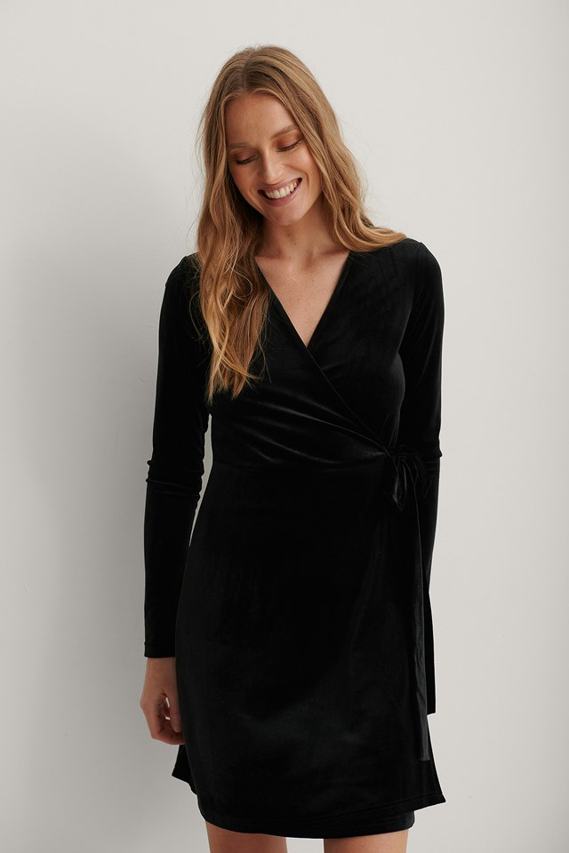 Black Wrap Velvet Dress