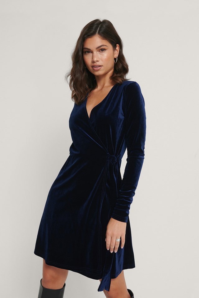 Dark Blue Wrap Velvet Dress