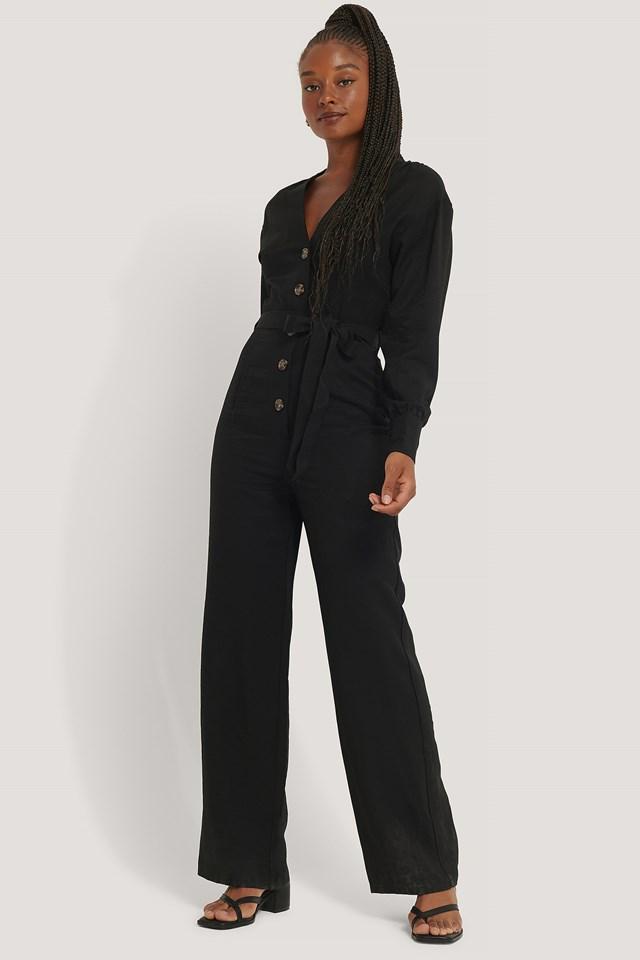 Wrinkle Shoulder Jumpsuit Black