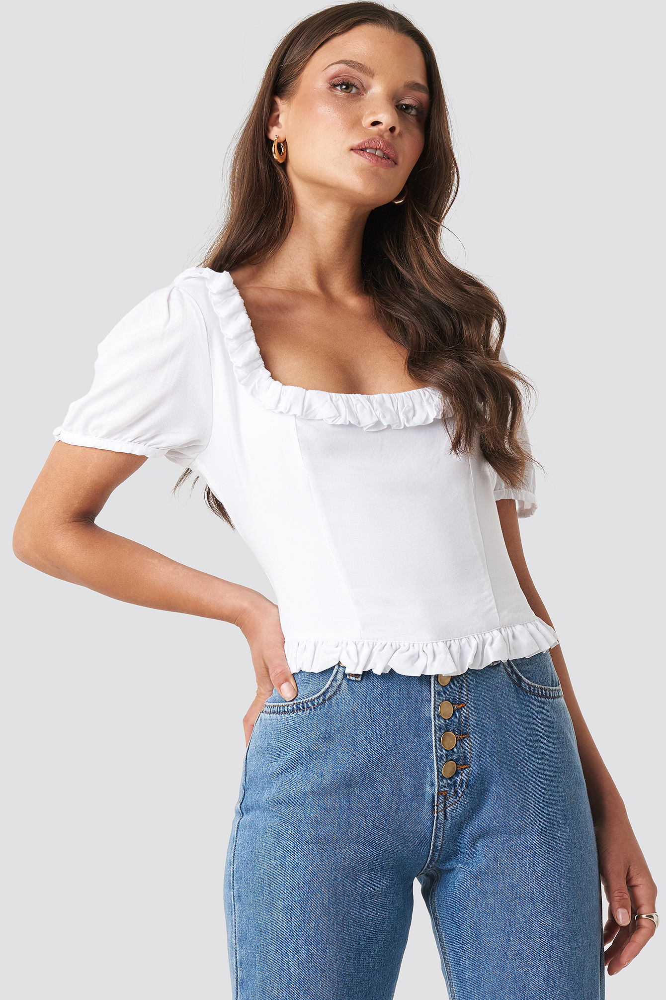 White Colleen Cropped Frill Top