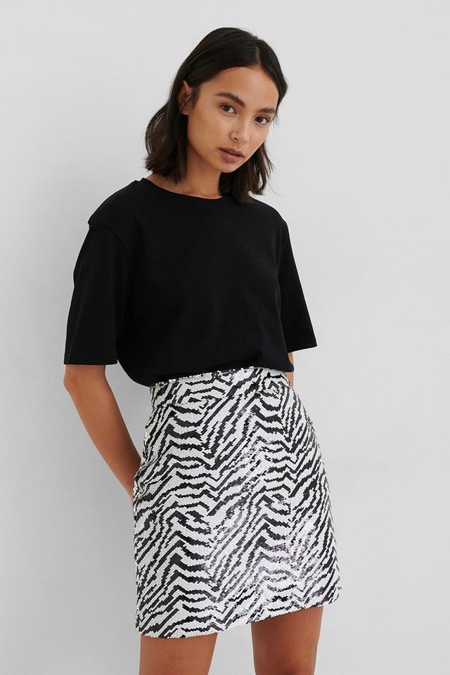 Zebra Zebra Sequin Mini Skirt