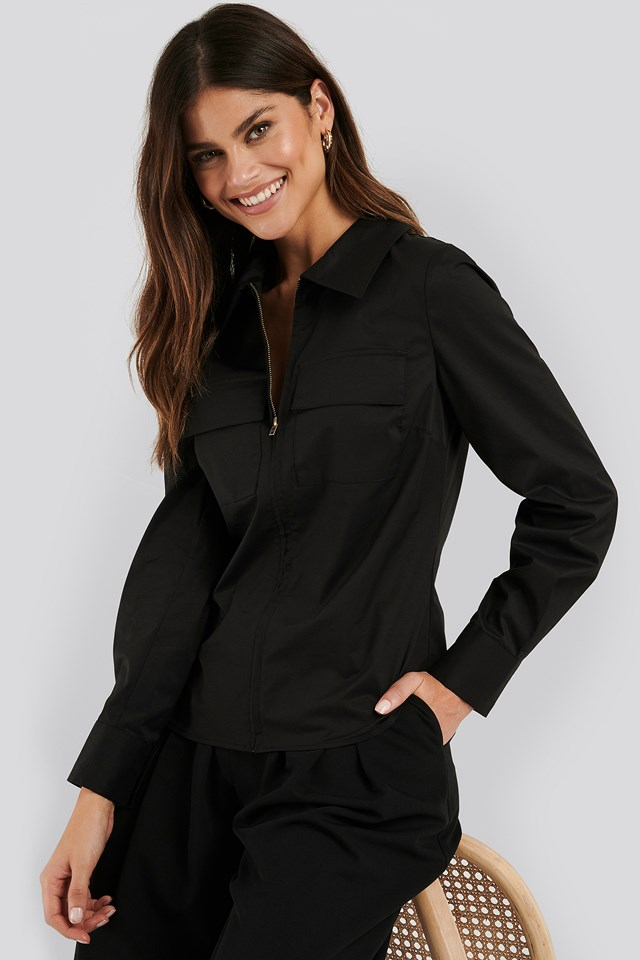 Zip Pocket Shirt Black