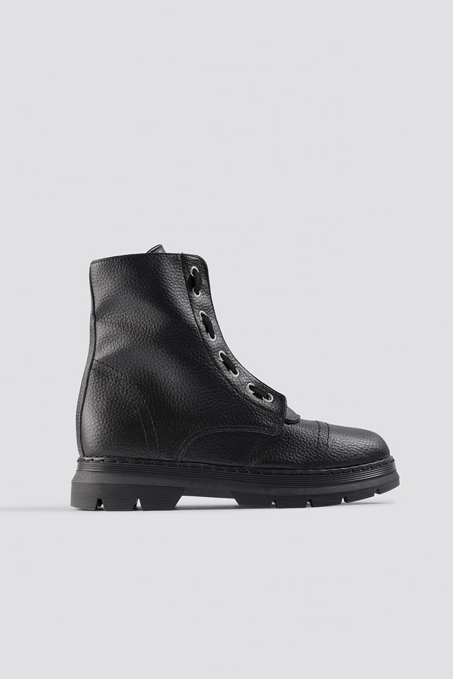 Zipper Detail Combat Boots Black
