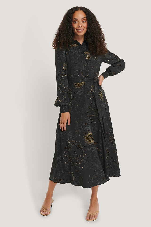 Zodiac Printed Shirt Dress Black Print