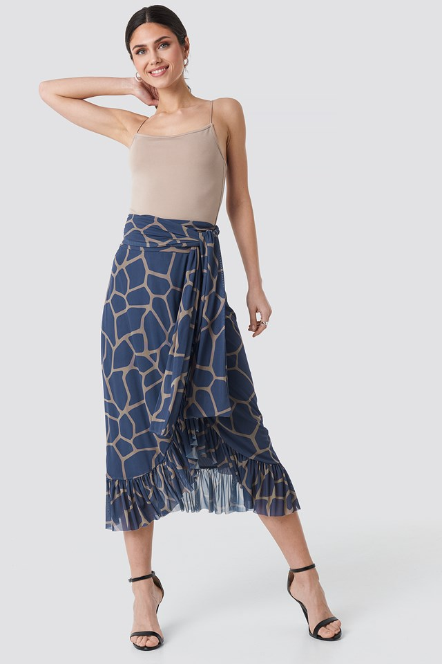 Geometric Blue Print Mesh Tied Waist Ankle Skirt