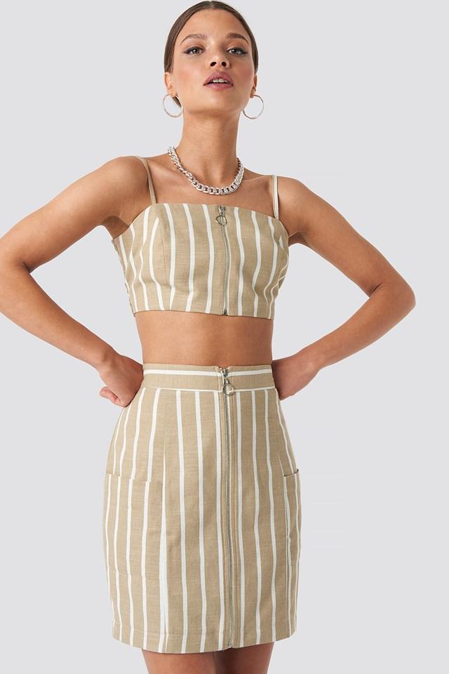 Zipped Skirt Light Beige