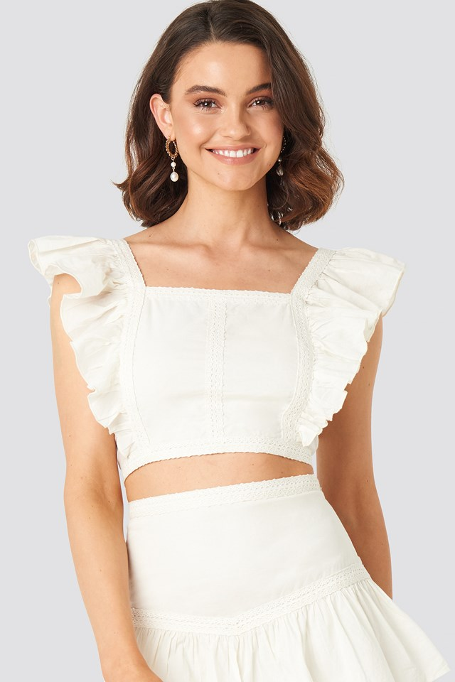 Lace Detailed Frill Cropped Top Off White