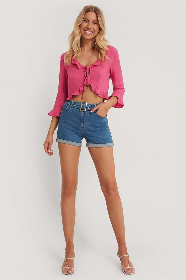 Frill Detail Tie Top Rosewood