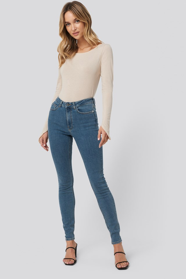 Mid Blue High Waist Skinny Fit Jeans