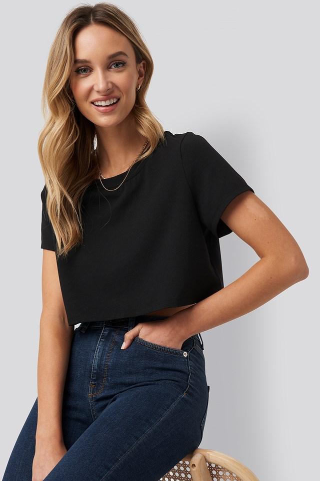 Recycled Raw Hem Cropped T-shirt Black