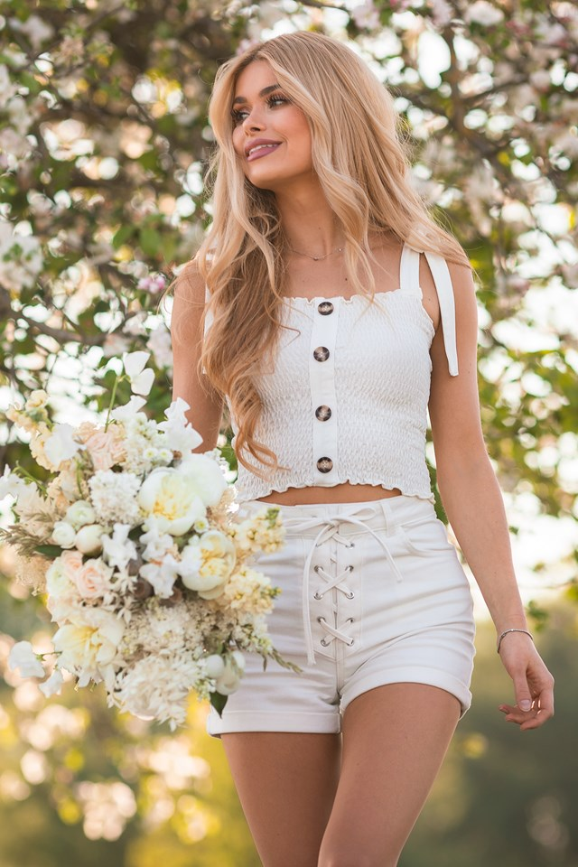 Organic Tie Detail Denim Shorts White