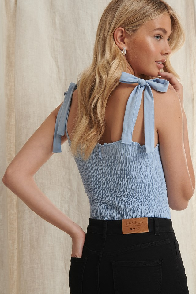 Recycled Tie Strap Smocked Top Dusty Blue