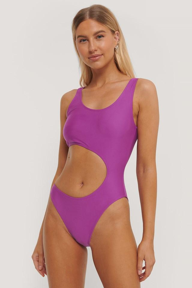 Cut Out Swimsuit Cerise
