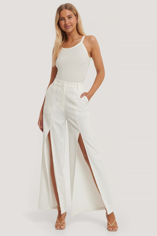 High Front Slit Trousers White