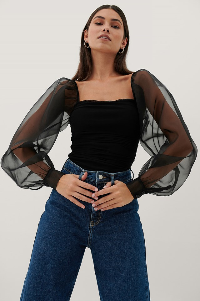 Organza Sleeves Top Black