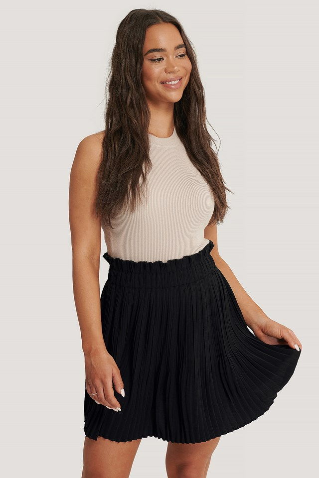 Black Paper Waist Mini Skirt