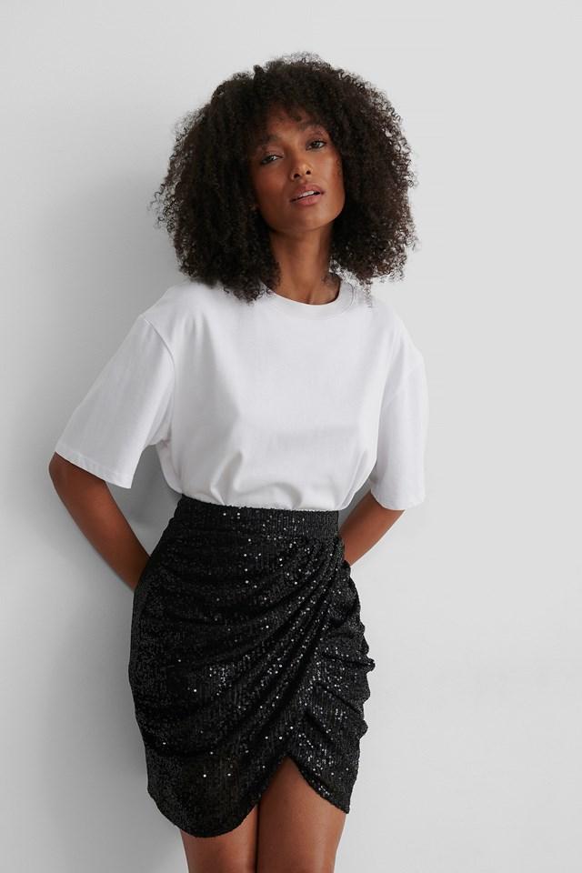 Black Draped Sequin Skirt