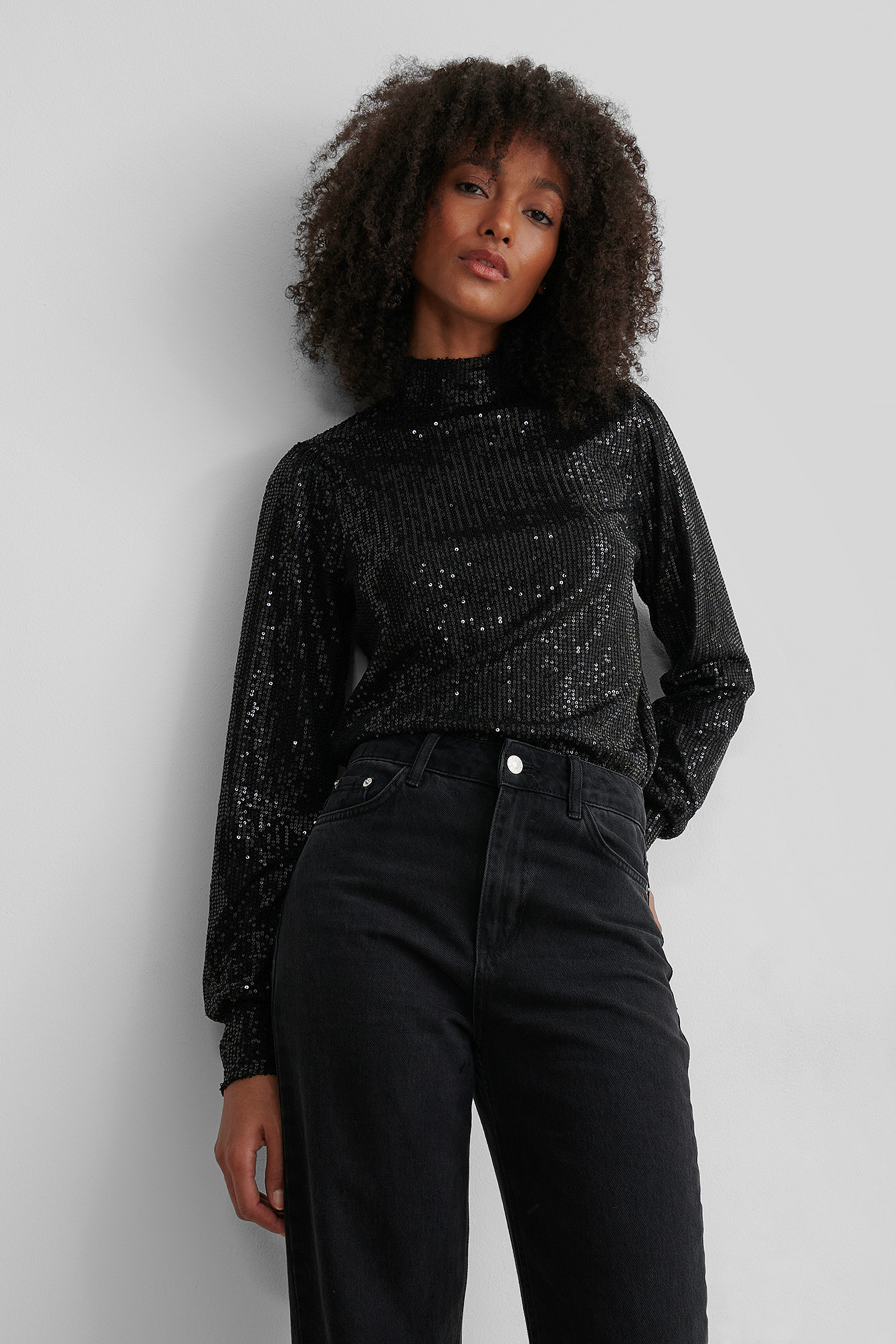 Black High Neck Sequin Top
