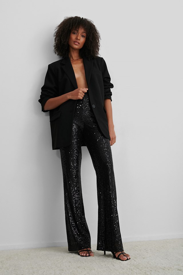 Black Straight Sequin Pants