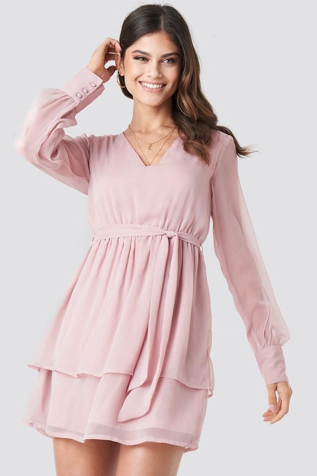 Double Layered Mini Dress Mauve